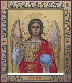 Рукописная икона Архангел Михаил с резьбой 6