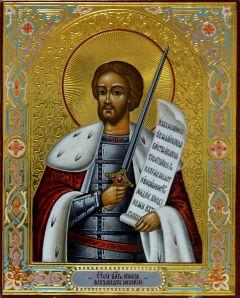 Рукописная икона Александр Невский 6