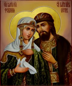 Рукописная икона Петр и Феврония маслом 52