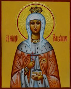 Рукописная икона Александра Федоровна 2