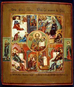 Рукописная икона Доброчадие (Четыре Рождества)