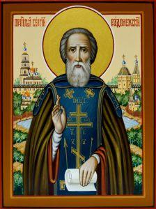 Рукописная икона Сергий Радонежский 10