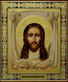 Рукописная икона Спас Нерукотворный резьба 10