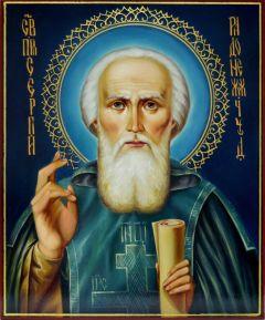 Рукописная икона Сергий Радонежский масло