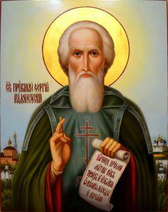 Рукописная икона Сергий Радонежский масло 2