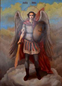 Рукописная икона Архангел Михаил масло