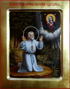 Рукописная икона Моление Серафима Саровского масло