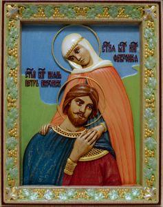 Резная икона Петр и Феврония 20 (Размер 20*25 см)