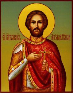 Рукописная икона Александр Невский 10