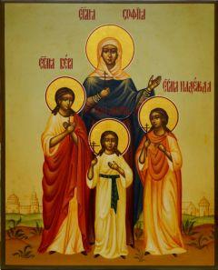 Рукописная икона Вера Надежда Любовь под старину 7