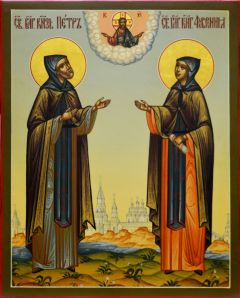 Рукописная икона Петр и Феврония под старину 59