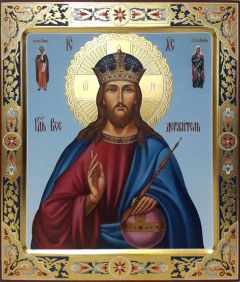 Рукописная икона Спас Вседержитель с резьбой 22