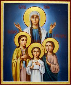 Рукописная икона Вера Надежда Любовь масло 8