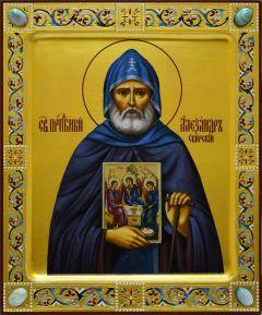 Рукописная икона Александр Свирский с камнями 3 (Размер 17*21 см)