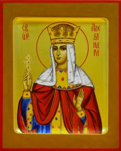Рукописная икона царица Александра