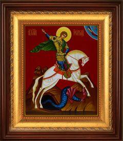 Рукописная икона Георгий Победоносец на коне (копия иконы 14 в)
