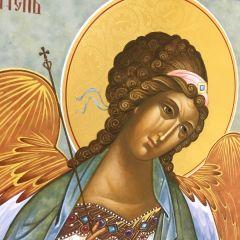 Рукописная икона Ангел с Душой Младенца 26