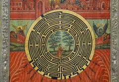 Рукописная икона Духовный Лабиринт с серебряной басмой