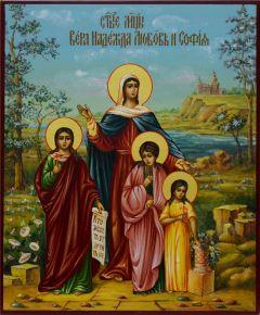 Рукописная икона Вера Надежда Любовь и Мать их София 10