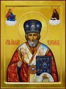 Рукописная икона Николай Чудотворец с Предстоящими 25