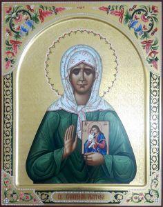 Рукописная икона Матрона Московская с резьбой 11