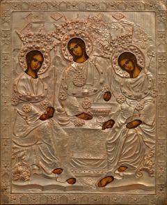 Рукописная икона Святая Троица в окладе 2