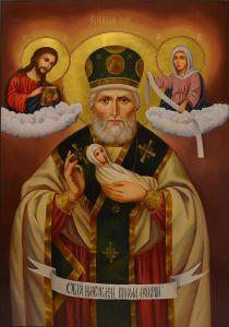 Рукописная икона Николай Чудотворец масло (Никола Мокрый)