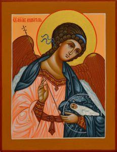 Рукописная икона Ангел Хранитель с Душой под старину 2 (Размер 10*12 см)