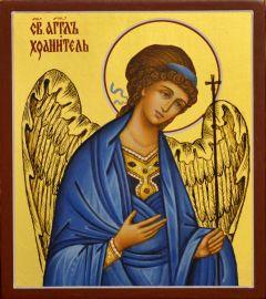 Рукописная икона Ангел Хранитель на золоте 28 (Размер 9*10.5 см)