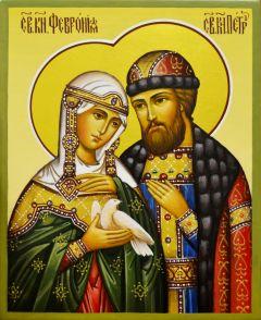 Рукописная икона Петр и Феврония 65 (Размер 13*16 см)