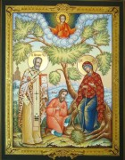 Рукописная икона Беседная Божия Матерь