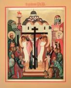 Рукописная икона Воздвижение Креста