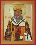 Рукописная икона Гурий Казанский