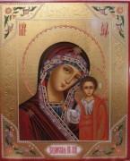 Рукописная икона Казанская Божия Матерь с резьбой
