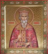 Рукописная икона князь Владимир с резьбой