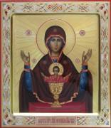 Рукописная икона Неупиваемая Чаша с резьбой