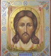 Рукописная икона Спас Нерукотворный с резьбой