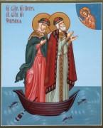 Рукописная икона Петр и Феврония в ладье