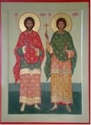 Рукописная икона Флор и Лавр