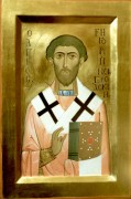 Рукописная икона Григорий Новгородский