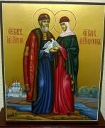 Рукописная икона Петр и Феврония с голубями