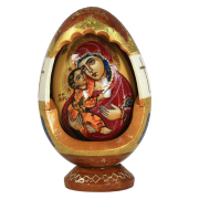 Пасхальное резное яйцо ручной работы Владимирская икона