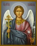 Рукописная икона Ангел Хранитель темный фон