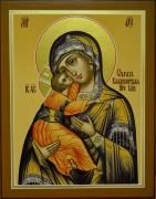 Рукописная Владимирская икона Божией Матери охра