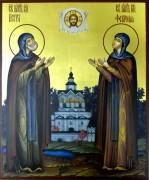 Рукописная икона Петр и Феврония золото