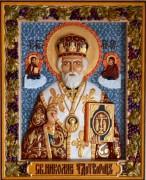Резная икона Николай Чудотворец с голубым фоном