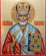 Рукописная икона святитель Николай Чудотворец узор