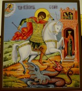 Рукописная икона Чудо Георгия о Змие золочение