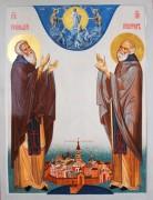 Рукописная икона Геннадий Важеозерский и Никифор