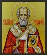 Рукописная икона Николай Чудотворец золото